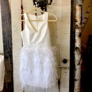 BHLDN Anthem White/Ivory Feather Mini Dress